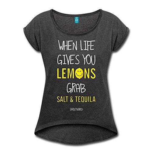 Spreadshirt Smiley World Tequila Life Gives You Lemons Frauen T-Shirt mit Gerollten Ärmeln, M, Schwarz Meliert (Gibt-shirt Das Zitronen Leben Dir)