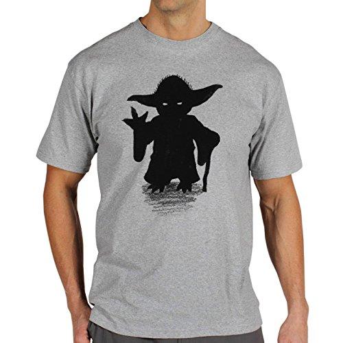Yoda Shilouette Art Sketch Background Herren T-Shirt Grau