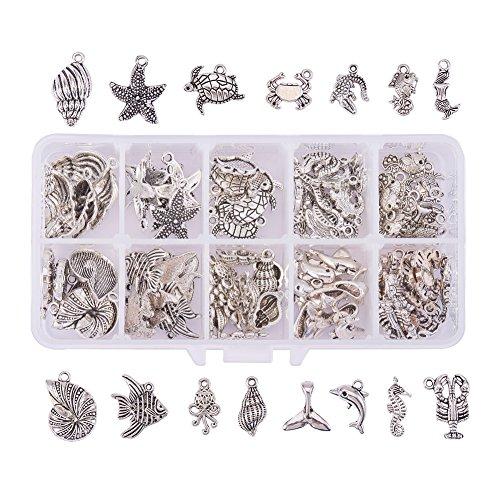PandaHall Elite - Lot von 90pcs Charms Anhänger Legierung Tibetischen Stil Ocean Theme Mischform für Schmuckherstellung, Antik Silber, 14~25.5x8~19x1.5~5.5mm, Loch: 1.5~8mm