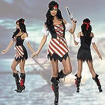 Piratenkostüm Damen Sexy Piratin Kostüm Seeräuberin Piratinnenkostüm Karneval Piratenbraut Faschingskostüm Mottoparty Seefahrt
