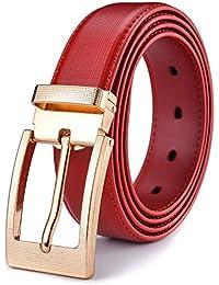 030715eecf1 Xhtang ceinture en cuir des hommes occasionnels boucle ardillon noir bleu  rouge mode élégante