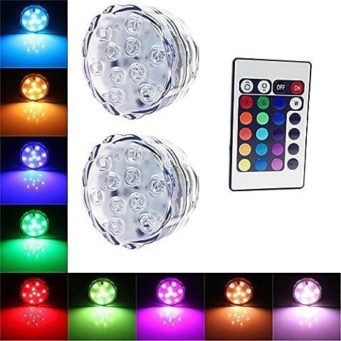 10 LED multi-couleur étanche Submersible lumières LED pour soirée de mariage Piscine, Fish Tank, Décorations de Noël Lumière Avec batterie Télécommande Powered (2pcs LED Light + 1pc Remote