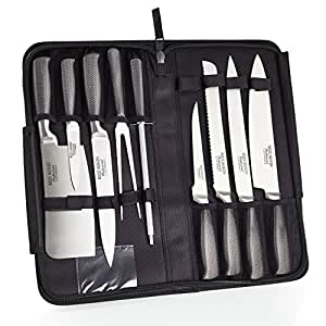 Ross Henery Professional, Set di coltelli da chef Eclipse da 9 pezzi in acciaio inox con custodia a cerniera