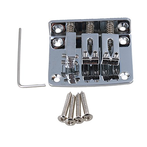 Yibuy Saitenhalter & Schrauben & Schlüssel, für Cigarbox-Gitarren, aus Zinklegierung silber