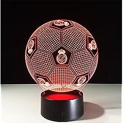 OOFAY LIGHT 3D Espejismo Efecto LED Luz De Noche Fútbol Real Madrid Forma Lámpara De Mesa 7 Cambio De Color para La Decoración del Sitio del Bebé De Los Niños,Touch