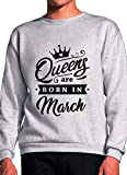 BlackMeow Queens are Born in March Grey Unisex Sweatshirt - Medium
