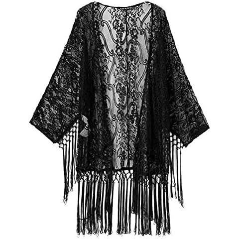 Culater® Mujeres Atractivas Ven A TravéS De Kimono De Encaje Borlas Rebeca De La Camisa De La Blusa Superior (M,