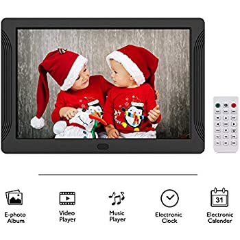 Neufday 17-inch Digital Picture Frame Plays Video and Photo Slideshows UK-White HD Display