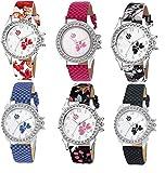 Swadesi Stuff Multi Color Stylish Luxury Fashion Watch Combo of 6 Watches fir Women & Girls