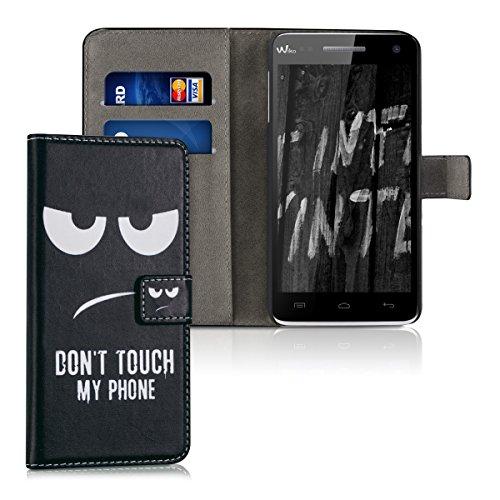 kwmobile Étui en cuir synthétique chic pour Wiko Rainbow 3G / 4G avec fonction support pratique. Design Don't touch my Phone en blanc noir