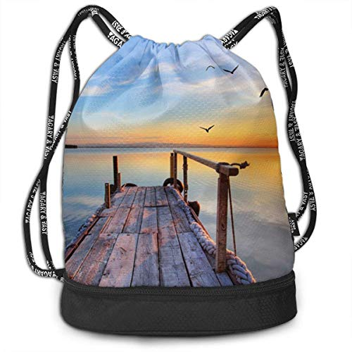 Bolsas de cuerdas,Bolsas de gimnasia,Mochilas tipo Casual, Funny Unisex Drawstring Beam Backpack Sunset Print Backpack -