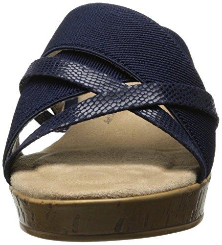 Doux Style Par Hush Puppies Jessie Dress Sandal Navy Elastic/Lizard Fabric