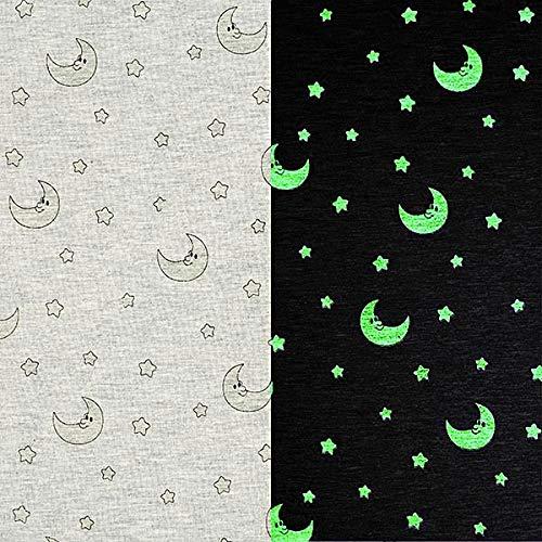 mwolljersey Glow in The Dark Mond und Sterne - grau - Meterware ab 0,5m - Oeko-Tex Standard 100 Produktklasse I - zum Nähen von Kinderbekleidung, Kleider und Tops ()
