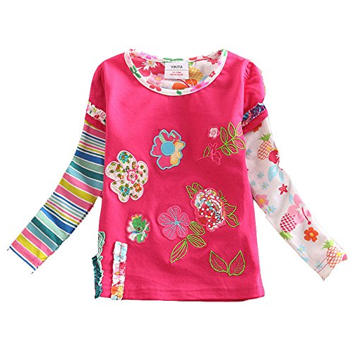 VIKITA Mädchen Baumwolle Langarm T-Shirt Top L220PINK 3T (T-shirt Europa Mädchen)