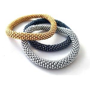 Dreifaches Set Armbänder silber, gold, hematite, Gehäkelte Perlen Armband, glasperlen rolle armband