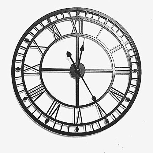 BESTTIME 80 cm Grande Horloge Murale rétro métal Art de Fer