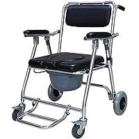 ZJBDQ Móvil cómoda silla con asiento redondo para las mayores sit sillas de ruedas para personas con discapacidad mover el inodoro sillas de inodoro plegable