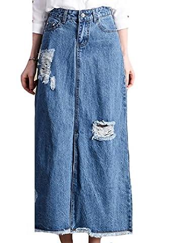 Tootlessly Women's Denim Slim Fit Summer Button Below the Knee Skirt Pattern1 28