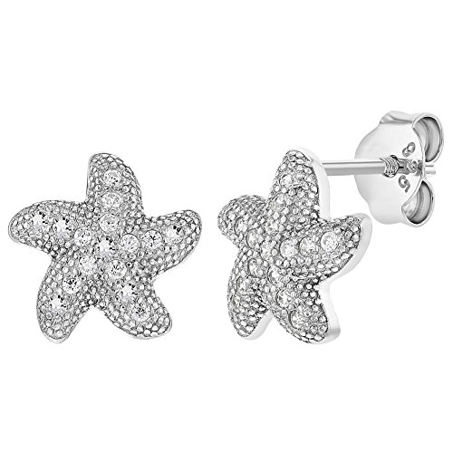 In Season Jewelry Teens Damen - Ohrstecker Ohrringe Seestern 925 Sterling Silber Klar CZ Zirkonia (Cz Stud Ohrringe Sterling Silber)