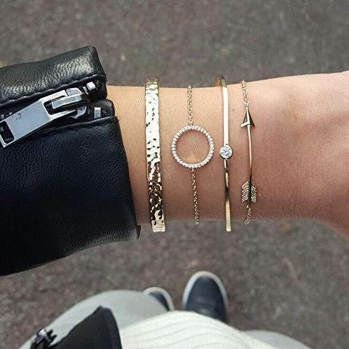 Jovono Simple Hollow Hoop Open Armband endete breite Armreif Manschette mit runden Pfeil Bump Armband Set für Frauen und Mädchen (4 Stück) (Gold)