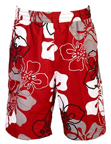 mareno - Herren Badeshort mit Modernem Blumenmuster in Rot, in Größe L -