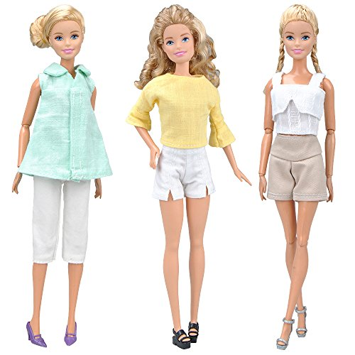 E-TING Handgefertigten Puppe Kleidung Büro Stil Trägt Lässige Kleidung Fit für Mädchen Puppen , 3 Sets Leinen - Baumwolle Gemischt Stoff Kleidung , Puppe Nicht Enthalten