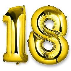 Idea Regalo - ocballoons Palloncino 18 Anni Mylar Numero Colore Oro Altezza 100 cm Compleanno Festa Gas Elio