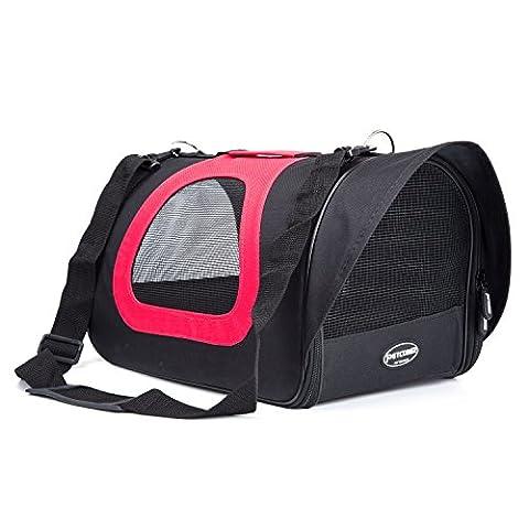 Petcomer Pet Weiche Seiten leicht Carrier Komfort Fluggesellschaften zugelassen Reisen Tasche für Hunde & Katzen 39,9 cm × 22,9 cm × 23,9 cm (Schwarz und (Paw Pet Carrier)
