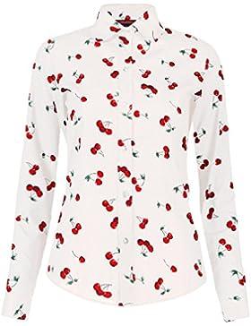 Dioufond Camisas Mujer Manga Larga Estampadas de Cerezas Blusas Sueltas Casual Para Mujer