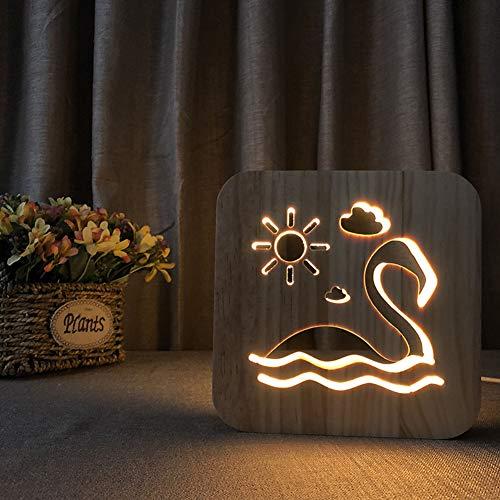 214 Home-office (MJBOY 3D Lampe USB LED Nachtlicht Massivholzschnitzerei Hohl Kreative Tischlampe Schönes Geschenk Home Office Dekoration Spielzeug (Flamingo))