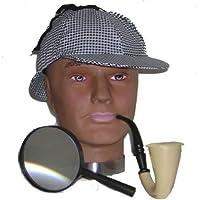 Déguisement du célèbre détéctive Anglais avec sa casquette + la loupe et la pipe.