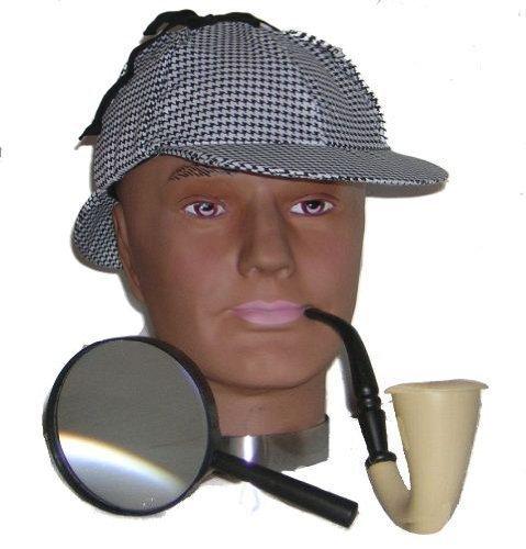 Sherlock Holmes Fancy Dress Kit Hat, Glass & Pipe (gorro/ sombrero)