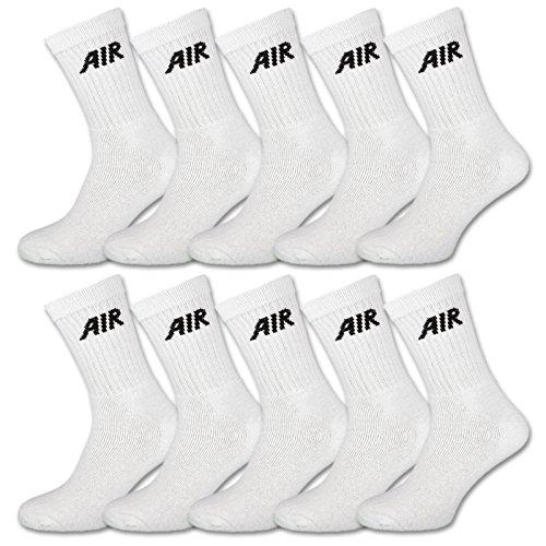 sockenkauf24 10 Paar AIR Damen & Herren Socken Sportsocken Baumwolle Schwarz oder Weiß (47-50, 10 Paar | Weiß)