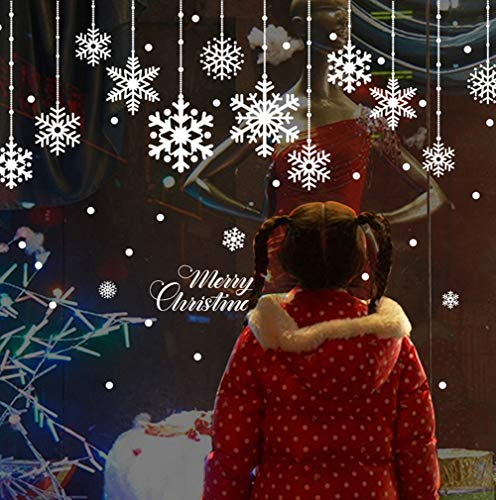 achts-Fenster-Aufkleber, Kombinationen, Schneeflocke, Punkte, Schnee, Aufkleber, Wand, Weihnachten, Urlaub, Winter, Weiß, Dekorationen für Partys (2 Bögen) ()