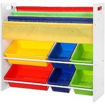 Songmics Scaffale Porta Giocattoli per Bambini Libreria Mensola con 6 Scatole (Bianco) GKR03W