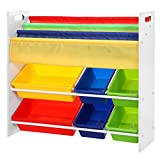 SONGMICS Toy Storage Unit with Anti-toppling Device 2-Tier Toy Shelf + 3-Tier Bookshelf GKR03W