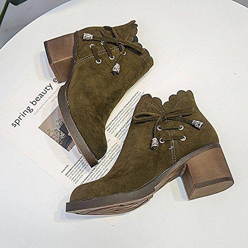 Scarpe donna gomma moda inverno Stivali Stivali punta tonda per esterni di Green Nero,Black,US6 / EU36 / UK4 / CN36 Black