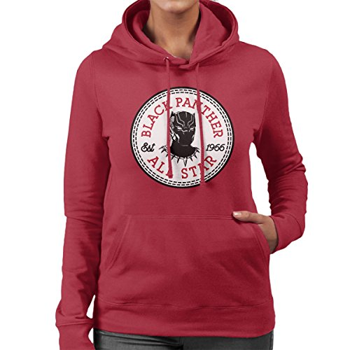 Black Panther All Star Converse Logo Women's Hooded Sweatshirt Cherry Red