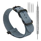 CIVO Uhrband Heavy Duty G10 Zulu Militär Uhrenarmband NATO Premium Ballistisches Nylon Uhr Armband 5 Schwarze Ringe mit Edelstahl Schnalle 20mm 22mm 24mm (smoke grey, 22mm)