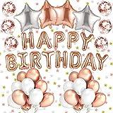 Alintor 48 Pezzi Compleanno Festa Palloncini Elio Stagnola Foglio Palloncino in Lattice Coriandoli Oro Rosa Festa Decorazioni per Bambini Bambino Adulto Decorazione