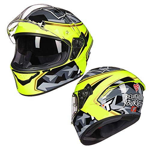 HSKS Herren Integralhelm Graffiti Double Lens Reiten Four Seasons Bluetooth Motorrad Helm weiblich