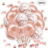 JOJOR Or Rose Confettis Ballons, Rose Gold Helium Ballon pour Mariage, Anniversaire, Bapteme, Baby Shower Fille, Diplôme, Cérémonie Décorations de Fête (50 Pièces