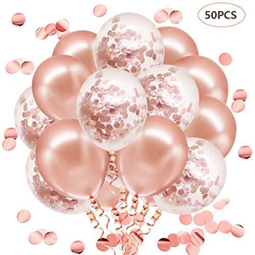 JOJOR 50 Stück Luftballons Rose Gold, Konfetti Luftballons, Ballons Rosegold,Helium Luftballons für Hochzeit Verlobung Valentinstag Mädchen Kinder Geburtstag Taufe Kommunion Party Deko (Und Rosen Ballons)