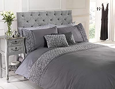 Grey King Size Duvet Quilt Cover Bedset Bedding Raised Rose & Ribbon Polycotton - low-cost UK bedding shop.