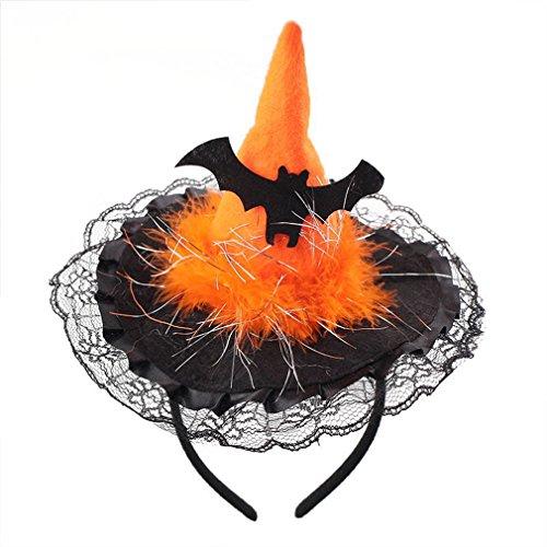 LnLyin Spitze Schläger Hut Halloween Süßigkeit Netter Stirnband Band Kürbis Schläger Hut Erwachsene Kinder Halloween Party Kleid (Halloween Hüte Für Kinder)