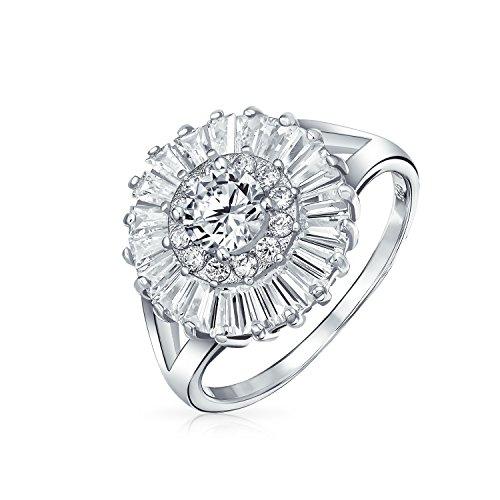 Bling Jewelry 925 silberne runde CZ Baguette Halo - Vintage Cz-verlobungsringe Stil