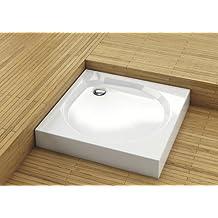 Duschwanne Duschbecken Duschtasse Acryl weiss 90x90cm 900 x 900mm mit 90er Siphon Schürze und Füßen flach