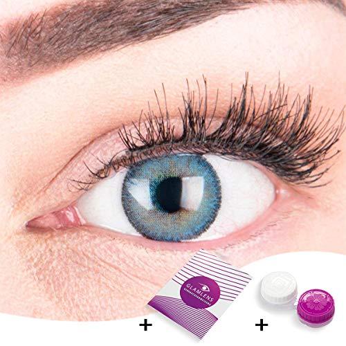 """Sehr stark deckende und natürliche blaue Kontaktlinsen SILIKON COMFORT NEUHEIT farbig \""""Mirel Blue\"""" + Behälter von GLAMLENS - 1 Paar (2 Stück) - DIA 14.00 - ohne Stärke 0.00 Dioptrien"""
