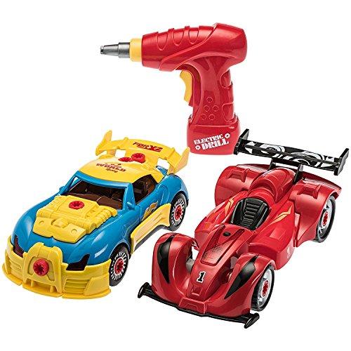 Sie Ihr eigenes Racer-Auto-Set mit echten Arbeitsbohrer und Schrauben 53 Stück Auseinandernehmbares Spielzeug für Jungen und Mädchen mit Lichter und Tönen (Bauen Sie Ihr Eigenes Spielzeug-auto)