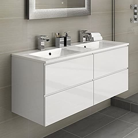 His & Hers Double Bathroom Vanity Sink Unit Wall Hung Basin Soft Close Storage Furniture
